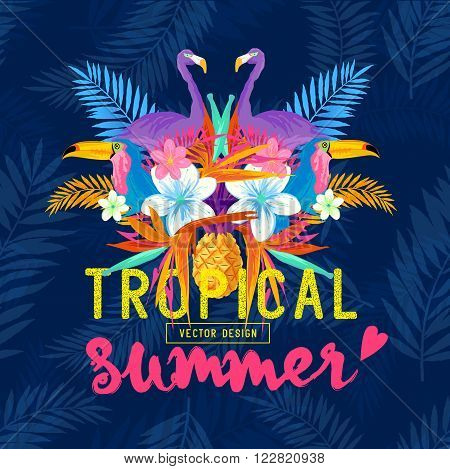 Vivid Tropical Love. Tropic elements including flamingo Palms Toucans Bird of paradise flowers and pineapples.