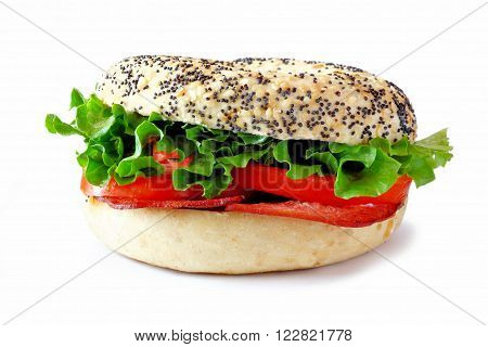 Blt Sandwich On A Bagel With Turkey Bacon Isolated On A White Background