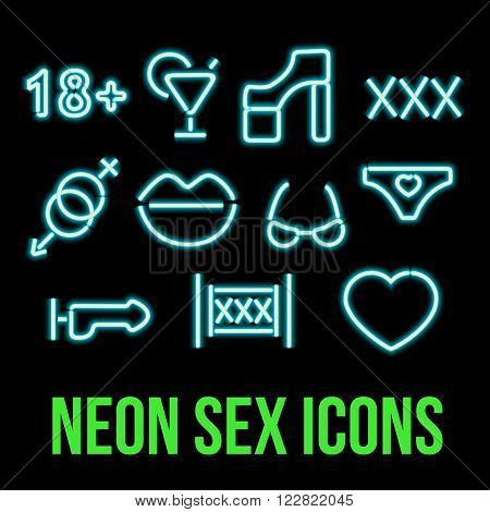 Set of blue neon sex icons. Erotic symbol - xxx, shoes vibrator, lips, drink. Burning a pointer to a black wall in a club, bar or cafe. Design element for your ad, signs, posters, banners.