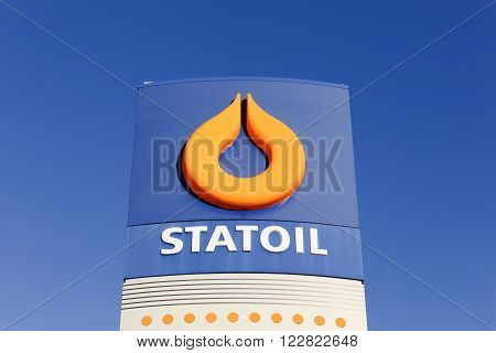 Aarhus, Denmark - December 13, 2015: Statoil logo on a gas station. Statoil ASA is a Norwegian multinational oil and gas company headquartered in Stavanger, Norway