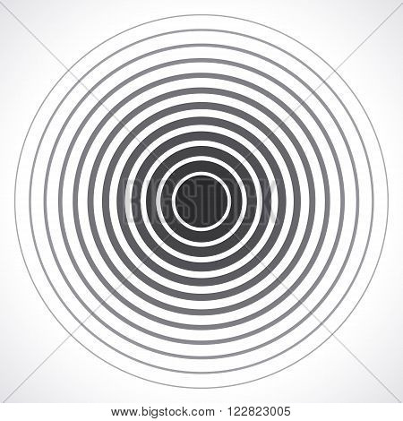 Concentric circle elements. Vector illustration for sound wave. Black and white color ring. Circle spin target. Radio station signal. Center minimal radial ripple line outline abstractionism
