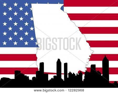 map of Georgia on American flag with Atlanta skyline