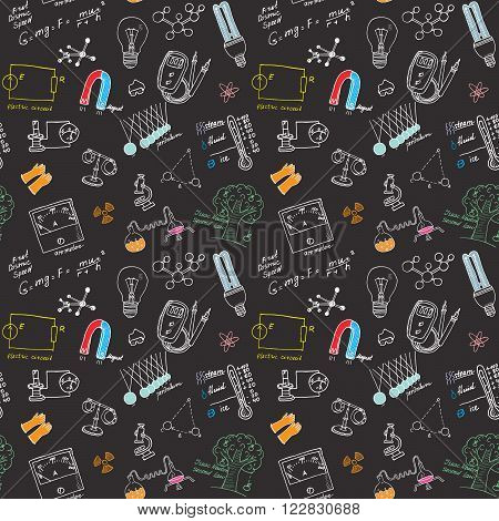 Physics and sciense seamless pattern with sketch elements Hand Drawn Doodles background Vector Illustration.
