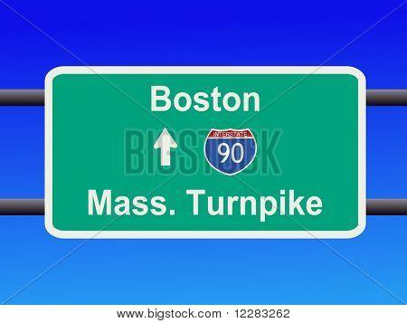 Massachusetts Turnpike Interstate 90 sign illustration
