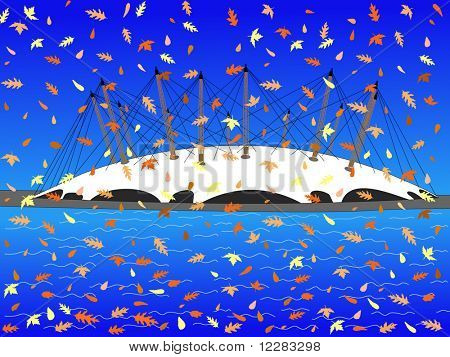 Millennium dome London in autumn with falling leaves