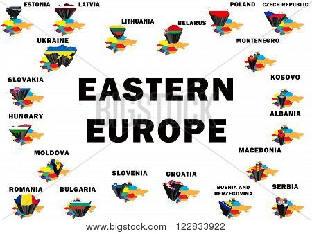 Outline map of Eastern Europe with each country raised and highlighted with the national flag