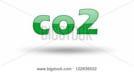Word CO2 with green letters and shadow. Illustration, isolated on white
