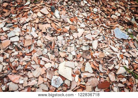 Thousands of pottery shards at archeological dig in Alexandrian Troas poster