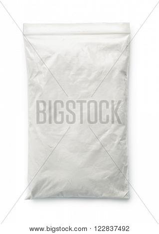 Talc powder bag isolated on white