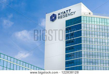 LONG BEACH CA/USA - MARCH 19 2016: Hyatt Regency Hotel. Hyatt Hotels Corporation is an American international company and operator of hotels.