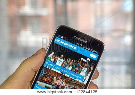 MONTREAL CANADA - MARCH 20 2016 - NCAA mobile application on Samsung S5's screen. NCAA is National Collegiate Athletic Association.