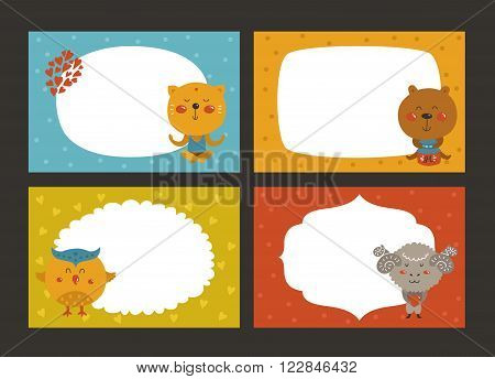 Set of cartoon animal borders, zoo frame with cat, bear, owl and merinos. Cute baby animals in love, kids frame, template for baby photo