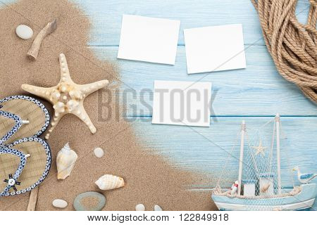 Travel and vacation photo frames and items. Top view