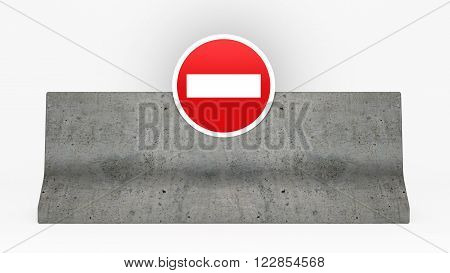 concrete jersey barrier with no entry sign