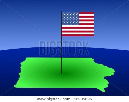 map of Iowa with American Flag on pole