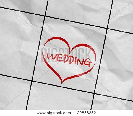 Concept image of a Calendar with the text: Wedding
