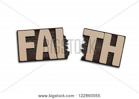 FAITH word with broken board isolated on white.