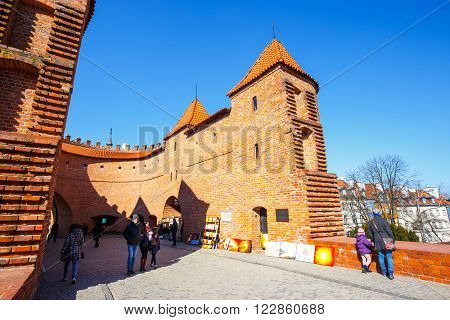 Warsaw, Poland, 13 March 2016: Renaissance Barbican In Warsaw In A Sunny Day. Warsaw Is The Capital