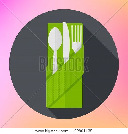 Cutlery set with Fork, Knife and Spoon flat vector icon with long shadows.  Cutlery pictogram flat web.