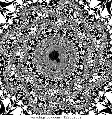 High resolution black and white Mandelbrot fractal pattern background