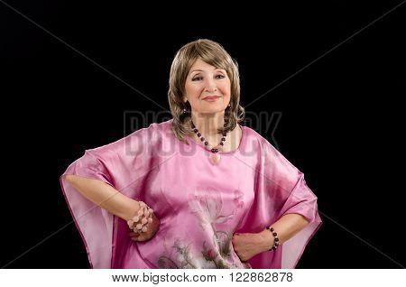 Portrait stunning older woman with amethyst rose quartz jewelry