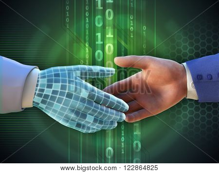 Virtual handshake between two businessmen. Digital illustration.