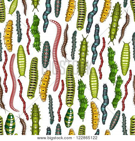 Insects background with pattern of earthworms and butterfly caterpillars, larvae, slugs and hairy centipedes