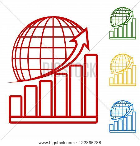 Growing graph with earth. Set of line icons. Red, green, yellow and blue on white background.