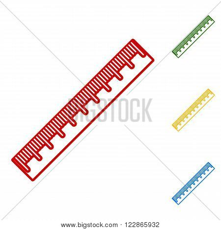 Centimeter ruler sign. Set of line icons. Red, green, yellow and blue on white background.