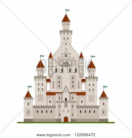 Fairytale royal castle or palace building with various windows, towers and turrets with battlements and flags. Children book, adventure, medieval history themes design