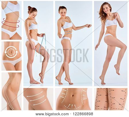 Collage of female body with the drawing arrows. Fat lose, liposuction and cellulite removal concept. poster
