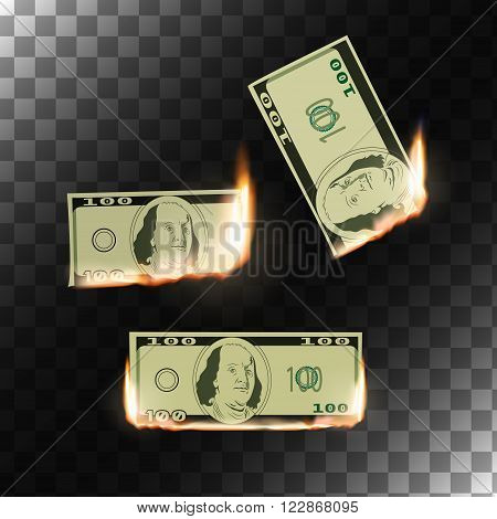 Burning money on transparent background. Hot sale design. Isolated vector illustration.