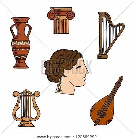 Architecture, music and art symbols of ancient Greece with profile of antique greek theater actress, surrounded by ionic columns with ornamental scrolls, amphora and lyre, harp and mandolin