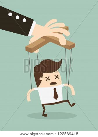 Vector illustration businessman marionette on ropes controlled hand