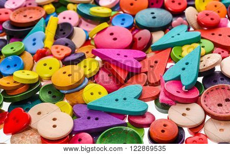 Different Shape And Colors Sewing Buttons Background. Colorful Texture
