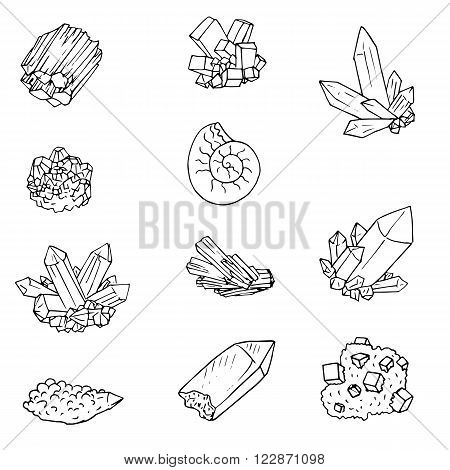 minerals, stones and cristals, ink drawing isolated elements at white background, hand drawn vector illustration