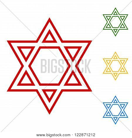 Star. Shield Magen David. Symbol of Israel. Set of line icons. Red, green, yellow and blue on white background.