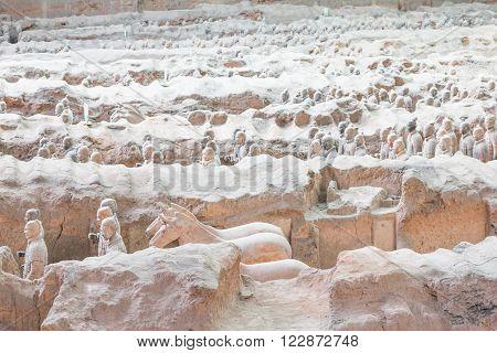 Terra cotta warriors excavationin in Xian, China