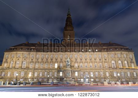 Copenhagen, Denmark - March 22, 2016: The seat of the Danish parliament Christiansborg Palace by night.