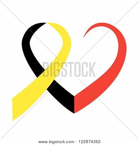 Belgian flag ribbon in commemoration of the victims of the Brussels terrorist attack