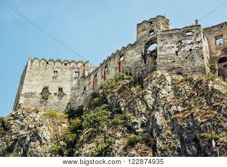 Ruins of Beckov castle on the high rock Slovak republic central Europe. Beautiful place.