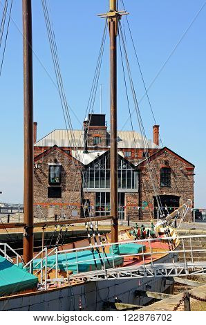 LIVERPOOL, UK - JUNE 11, 2015 - Masted ship in Canning Dock Liverpool Merseyside England UK Western Europe, June 11, 2015.