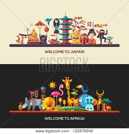 Illustration of flat design Africa and Japan travel vector banners set with icons, infographics elements, landmarks and famous African and Japanese symbols