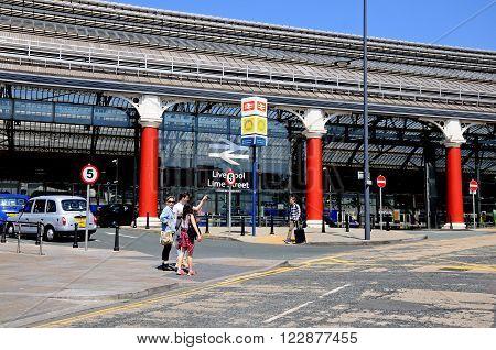 LIVERPOOL, UK - JUNE 11, 2015 - Side view of Lime Street Railway Station Liverpool Merseyside England UK Western Europe, June 11, 2015.