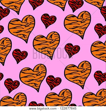 Seamless pattern red and orange hearts with tiger pattern on a pink background