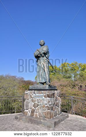 NAGASAKI, JAPAN - APRIL 6: The statue of Sakamoto Ryoma in Kazagashira Park on April 6, 2014 at Nagasaki, Japan. Sakamoto Ryoma is a prominent figure in Japan.