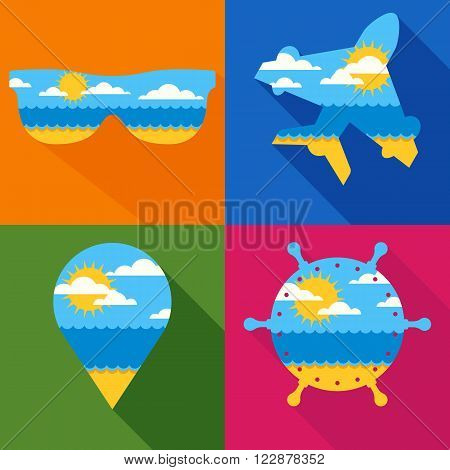 Set of vector travel backgrounds. Summer landscape with sea sun clouds sand beach. Waypoint airplane sunglass steering wheel icons. Travel agency airlines cruise and summer holidays design.