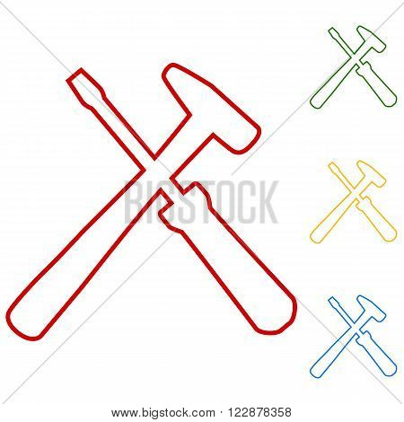 Tool. Set of line icons. Red, green, yellow and blue on white background. poster