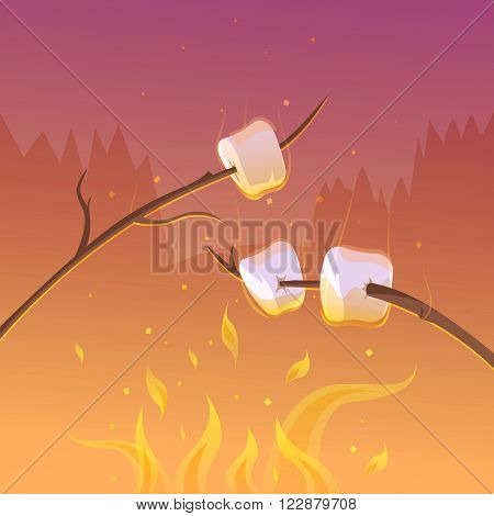 Barbecue and hiking at night cartoon background with sticks and fire vector illustration