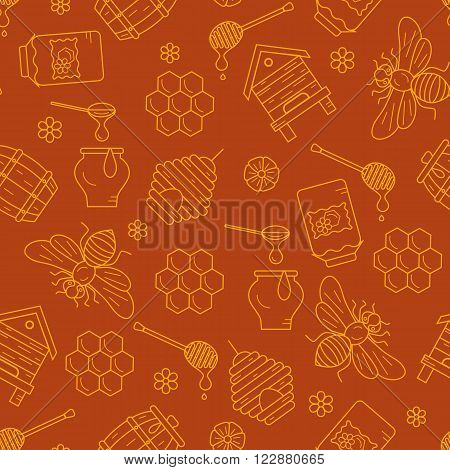 Honeycomb seamless pattern illustration. Honeycomb vector symbols. Bee, honey, honeycomb, beehive. Outline style honeycomb seamless pattern. Vector icon honeycomb seamless pattern. Honey illustration